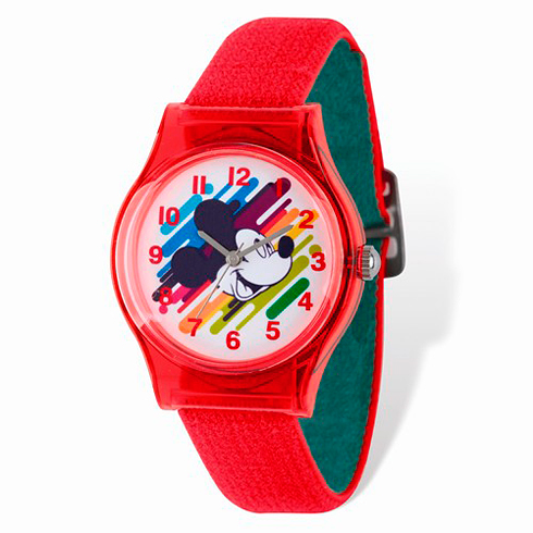 Mickey Mouse Rainbow Red Nylon Strap Watch