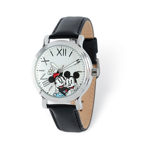 Mickey and Minnie Mouse Roman Numerals White Dial Leather Watch