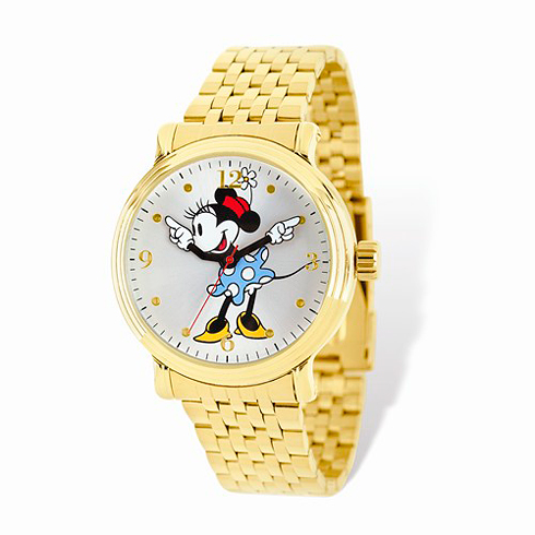 Minnie Mouse Moving Arms Gold-tone Bracelet Watch