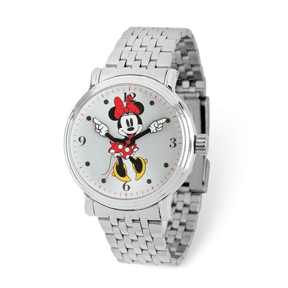 Minnie Mouse Moving Arms Silver-tone Bracelet Watch