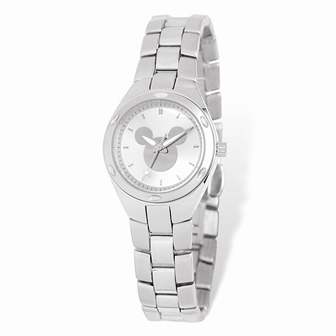 Mickey Mouse Silhouette Stainless Steel Silver Dial Watch