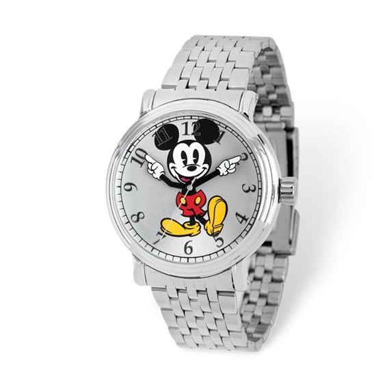 Mickey Mouse Moving Arms Silver-tone Bracelet Watch
