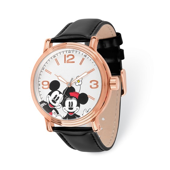 Mickey and Minnie Mouse Rose-Tone White Dial Leather Watch