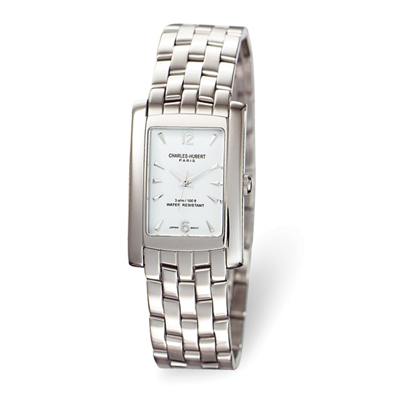 Mens Charles Hubert Solid Stainless Steel White Dial Watch No. 3666-W/M