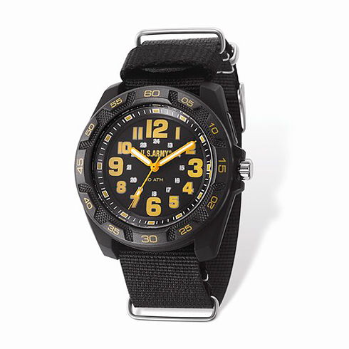Wrist Armor US Army C42 Quartz Black and Yellow Dial Watch Nylon Strap