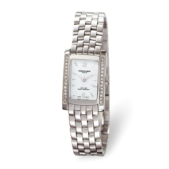 Ladies Charles Hubert Solid Stainless Steel White Dial Watch No. 6666-W/M