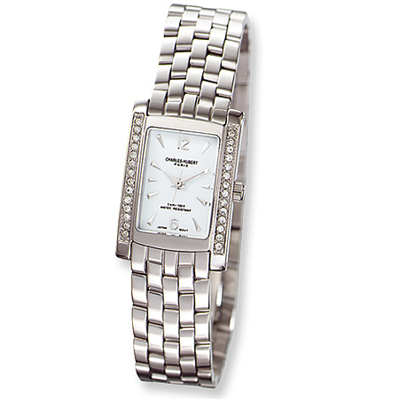 Charles Hubert Stainless Steel Swarovski Crystal Watch 6666-W/M