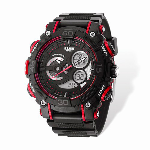 Wrist Armor US Navy C40 Digital Chronograph Watch Black Red Dial