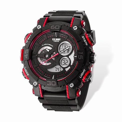 Wrist Armor US Navy C40 Digital Chronograph Watch Black Red Dial