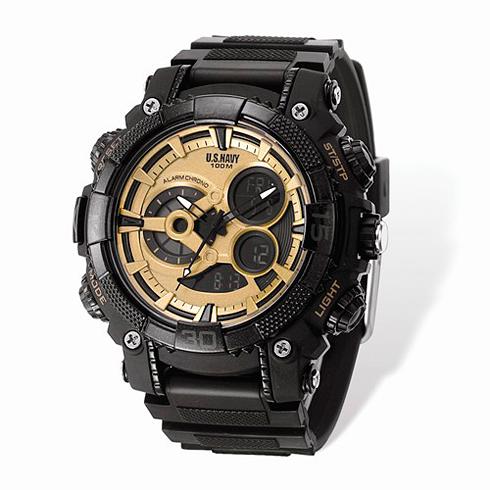 Wrist Armor US Navy C40 Digital Chronograph Watch Black Gold Dial