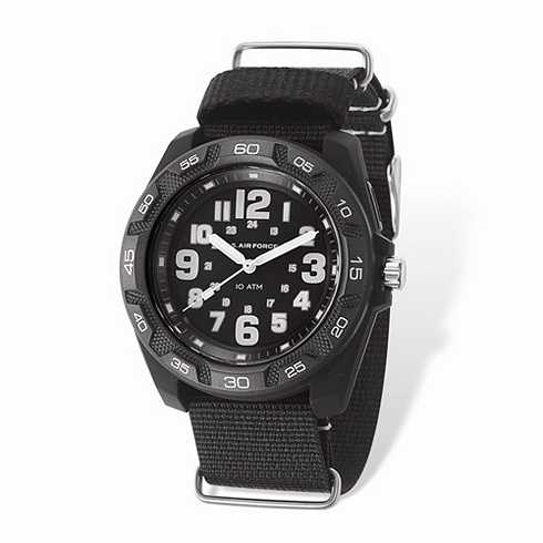 Wrist Armor US Air Force C42 Quartz Black Watch with Nylon Strap
