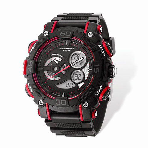 Wrist Armor US Air Force C40 Digital Chronograph Watch Black Red Dial