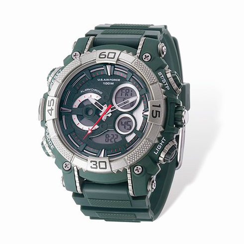 Wrist Armor US Air Force C40 Digital Chronograph Watch Green Dial