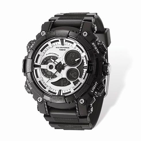 Wrist Armor US Air Force C40 Digital Chronograph Watch Black Silver Dial
