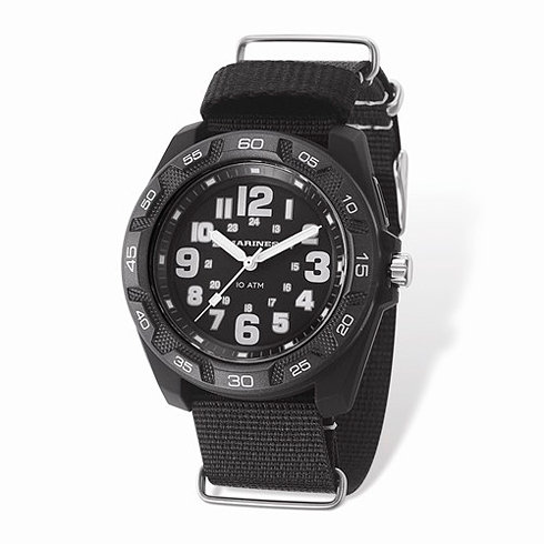 Wrist Armor US Marine Corps C42 Quartz Black Watch with Nylon Strap