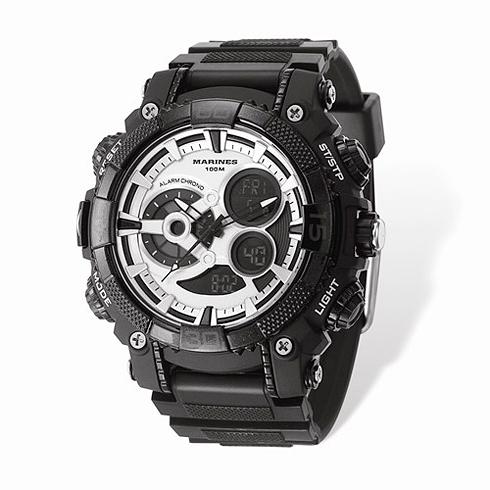 Wrist Armor US Marine Corps C40 Digital Chronograph Watch Black Silver Dial