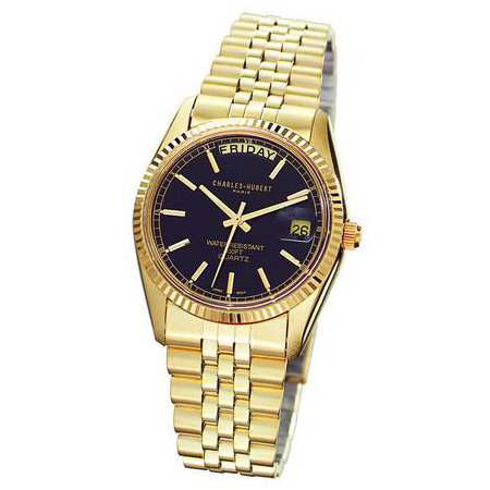 Charles Hubert 14k Gold-plated Brass Black Dial Watch