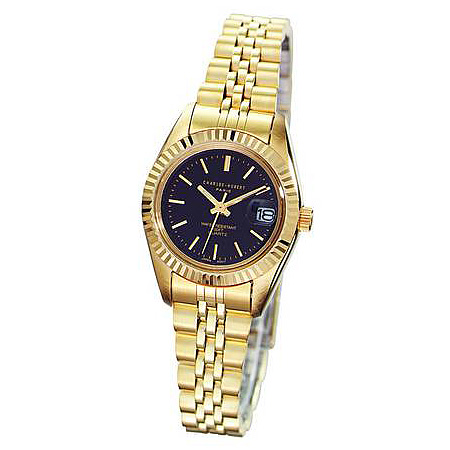 Ladies Charles Hubert 14k Gold-plated Brass Black Dial Watch No. 6397-B