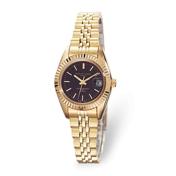 Charles Hubert 14k Gold-plated Brass Black Dial Watch 6397-B