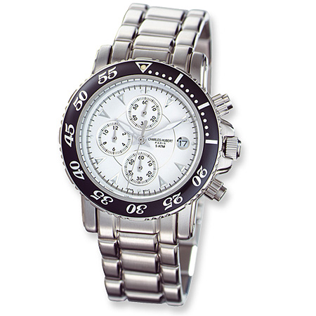 Mens Charles Hubert White Ceramic Dial Chronograph Watch No. 3550-W