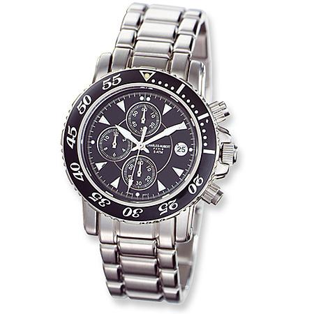 Mens Charles Hubert Black Ceramic Dial Chronograph Watch No. 3550-B