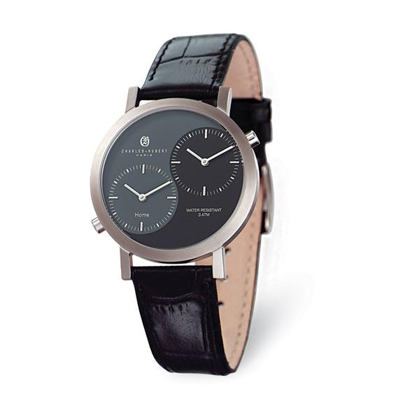 Charles Hubert Black Gray Dial Dual Time Watch No. 3549