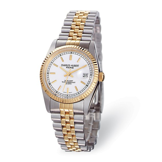 Mens Charles Hubert 14k Gold-plating Off White Dial Watch No. 3635-W