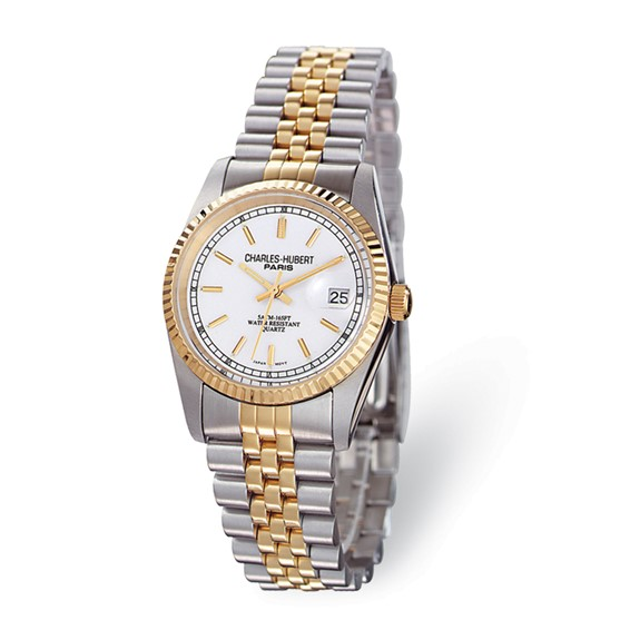 Ladies Charles Hubert 14k Gold-plated Two-tone Off White Dial Watch No. 6635-W