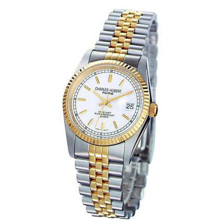 Charles Hubert 14k Gold-plated Two-tone Off White Dial Watch 6635-W