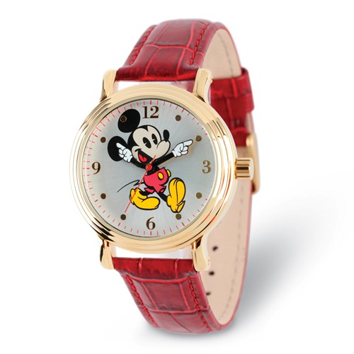 Mickey Mouse Moving Arms Red Leather Watch