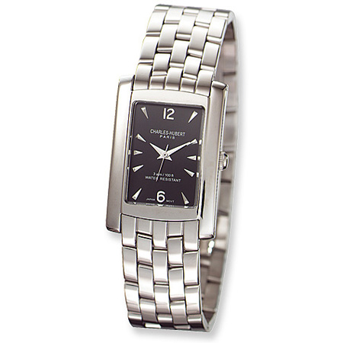 Charles Hubert Stainless Steel Rectangular Black Dial Watch 3666-B/M