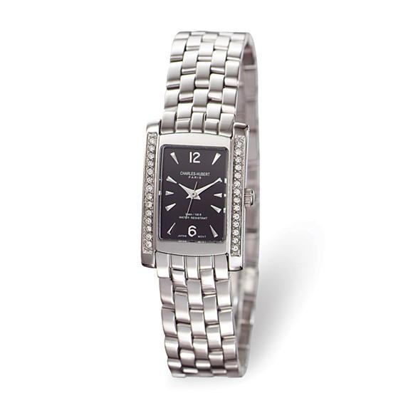 Charles Hubert Stainless Steel Black Swarovski Crystal Watch 6666-B/M