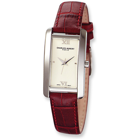 Charles Hubert Leather Band Rose Gold Dial Retro Watch 6670-P