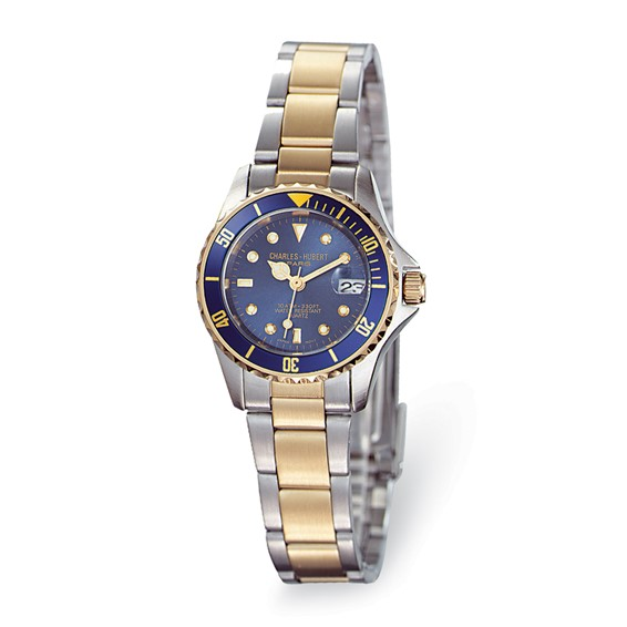 Ladies Charles Hubert Two-tone Brass Silver Blue Dial  Watch No. 6662