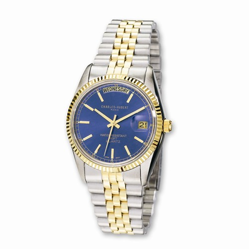 Charles Hubert Two-tone Brass Stainless Steel Blue Dial Watch 3401