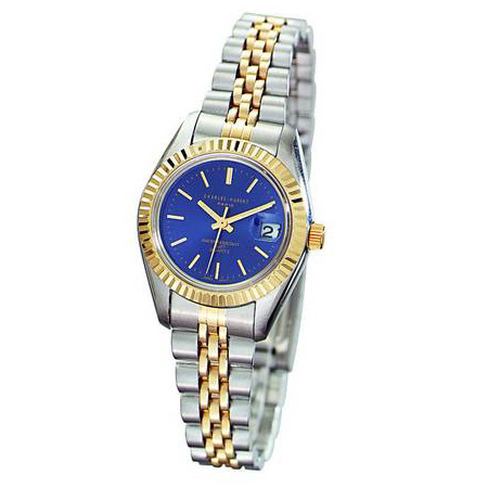 Ladies Charles Hubert Two-tone Brass Stainless Steel Blue Dial Watch No. 6566