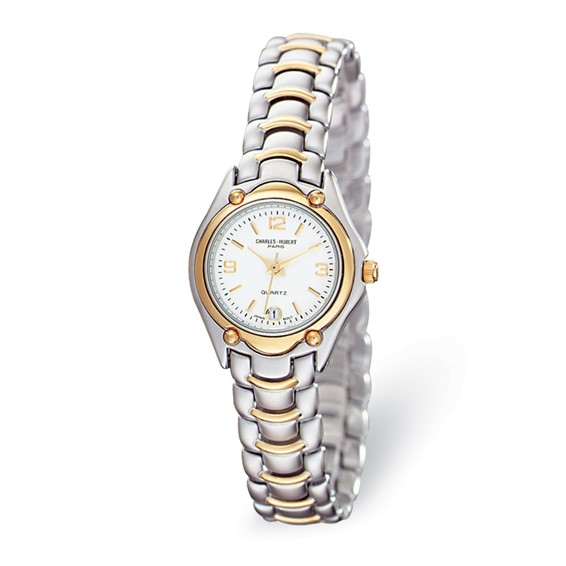 Ladies Charles Hubert Two-tone Brass White Dial Watch No. 6630