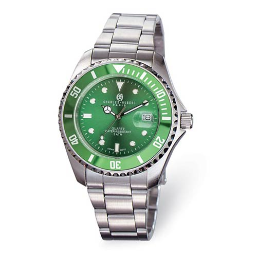 Charles Hubert Stainless Steel Green Dial Watch