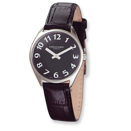 Ladies Charles Hubert Leather Band Black Dial Super Slim Watch No. 6687-B