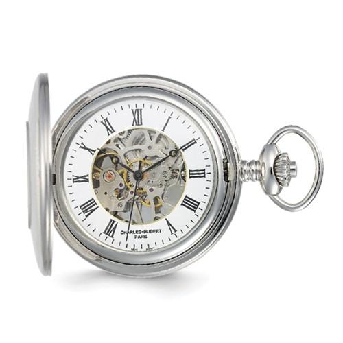 Charles Hubert Mechanical Pocket Watch Skeleton Dial Demi Case #3565