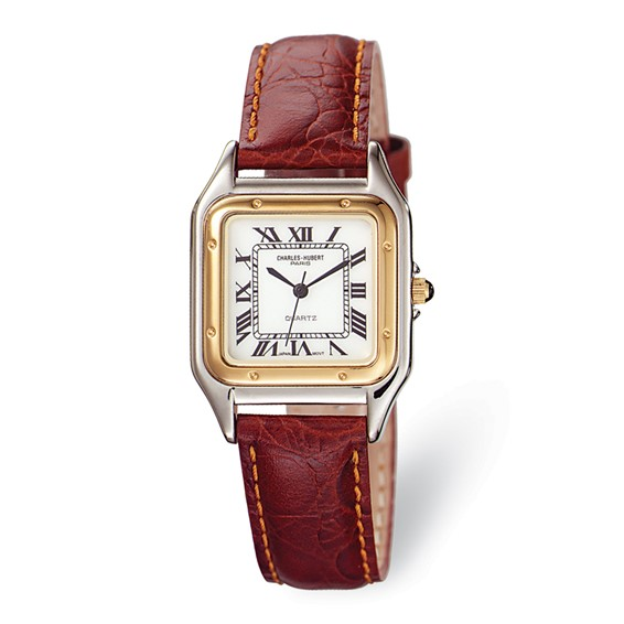 Mens Charles Hubert Leather Band White Dial Retro Watch No. 3395