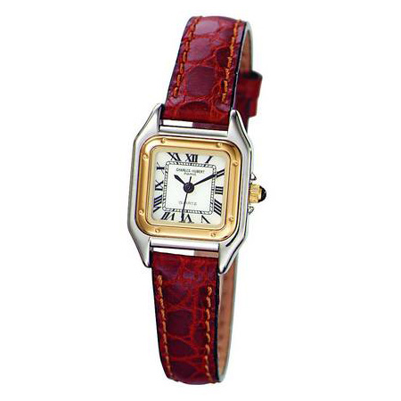 Ladies Charles Hubert Leather Band White Dial Retro Watch No. 6437