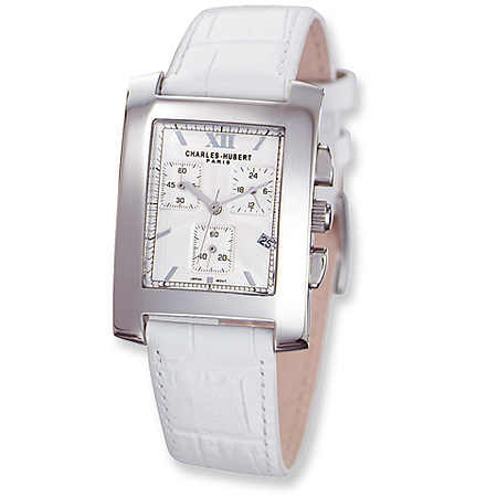 Ladies Charles Hubert Leather Band White Dial Chronograph Watch No. 3680-W