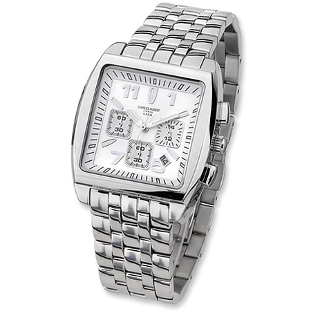 Mens Charles Hubert Stainless Steel White Dial Chronograph Watch No. 3697