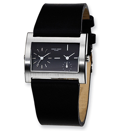 Mens Charles Hubert Leather Band Black Dial Dual Time Watch No. 3592
