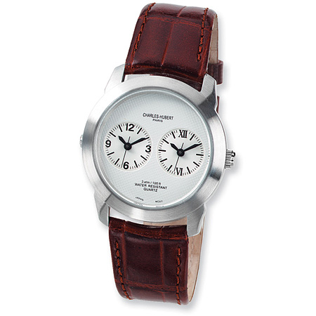 Mens Charles Hubert Leather Band Silver White Dial Dual Time Watch No. 3520-A