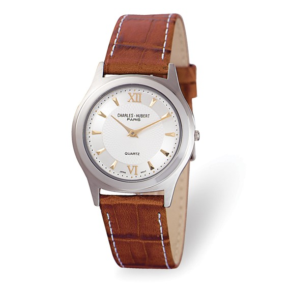 Ladies Charles Hubert Leather Band Silver White Dial Super Slim Watch No. 3705