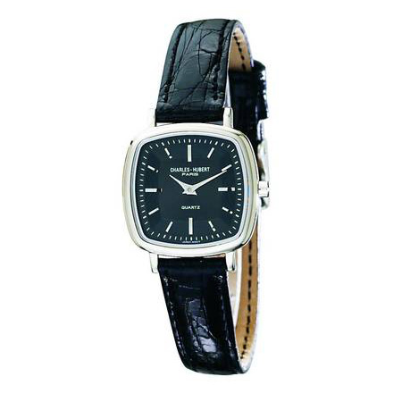 Ladies Charles Hubert Leather Band Black Dial Retro Watch No. 6681-W/B