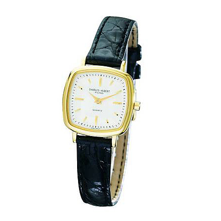 Ladies Charles Hubert Leather Band White Dial Retro Watch No. 6681-G/W