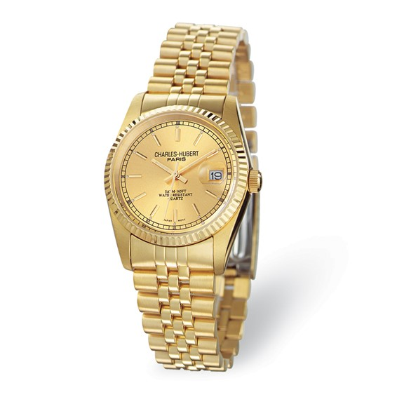 Charles Hubert Gold-plated Champagne Dial Watch No. 3635-GW